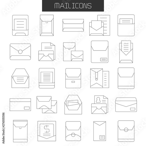 Fotografie, Tablou  envelope, mail and letter icons set