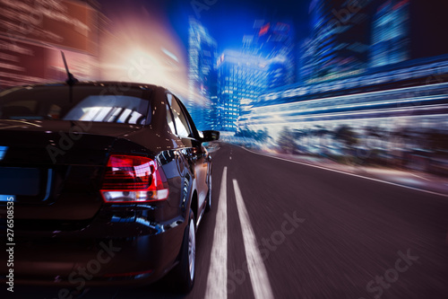 Tuinposter Bordeaux Car driving on highway road auto speed transportation