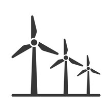 Black Silhouette Windmill Alternative And Renewable Energy Icon Vector Illustration