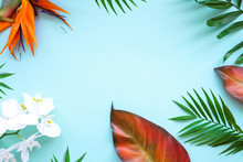 Background Of Tropical Flowers, Palm Leaves. Place For Text. Flat Lay.  Summer Concept.
