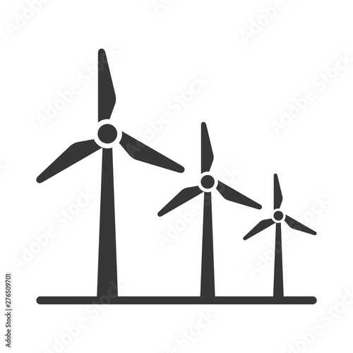 Cuadros en Lienzo black silhouette windmill alternative and renewable energy icon vector illustrat