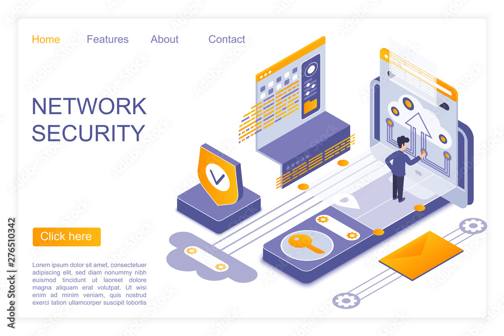 Fototapety, obrazy: Network security landing page isometric vector template