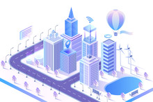 Modern Smart City Isometric Vector Illustration. Intelligent AI Skyscrapers Buildings. Computer Network, Internet Of Things Concept. Data Center, Server And Matrix Crypto Blockchain.