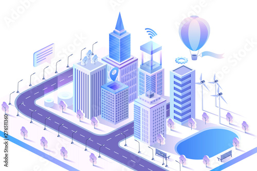 Vászonkép Modern smart city isometric vector illustration