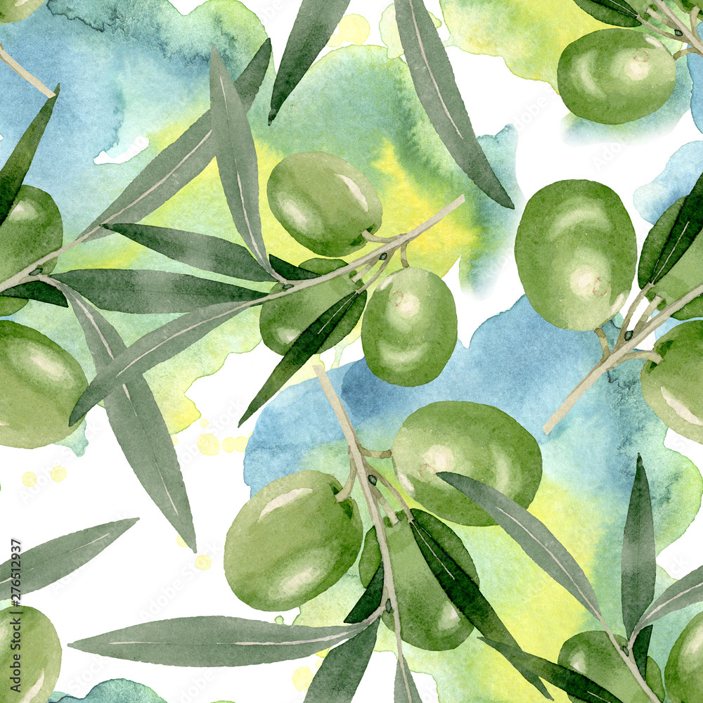 Fototapety, obrazy: Olive branch with black and green fruit. Watercolor background illustration set. Seamless background pattern.