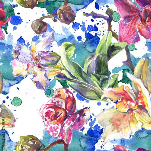 storczykowe-kwiatowe-kwiaty-botaniczne-zestaw-ilustracji-tle-akwarela-bezszwowy-tlo-wzor