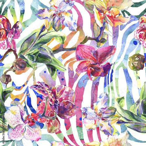 Deurstickers Paradijsvogel Orchid floral botanical flowers. Watercolor background illustration set. Seamless background pattern.