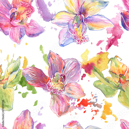 Tuinposter Orchid floral botanical flowers. Watercolor background illustration set. Seamless background pattern.