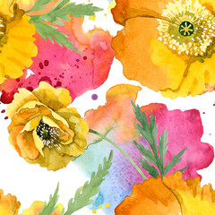 Fototapeta Kwiaty Yellow poppy floral botanical flowers. Watercolor background illustration set. Seamless background pattern.