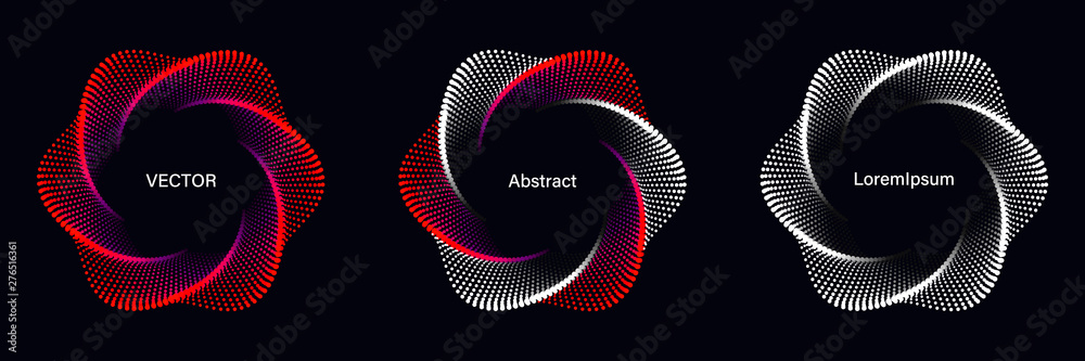 Fototapeta Set of Spiral Dotted Graphic Elements in Red Tones. Geometric Vector Frames on Black Background.
