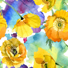 Fototapeta Do jadalni Yellow poppy floral botanical flowers. Watercolor background illustration set. Seamless background pattern.