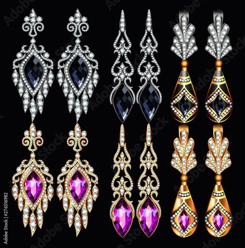 Fotografie, Obraz Illustration set of jewelry earrings with precious stones