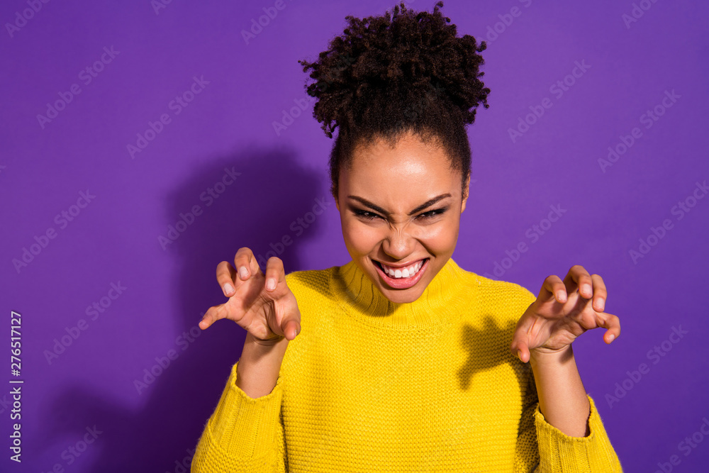 Fototapety, obrazy: Portrait of dangerous wild teen act like animal have wavy hairstyle wear stylish trendy yellow pullover isolated purple violet background