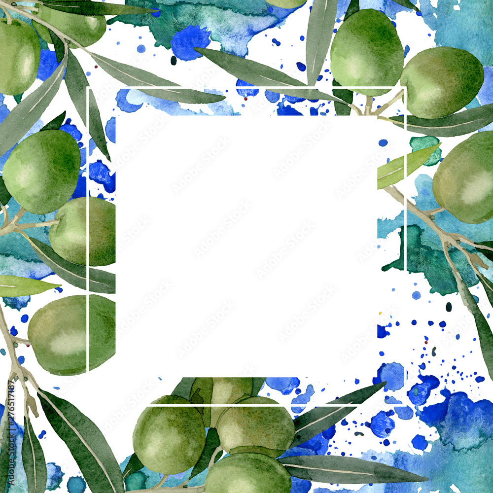 Fototapety, obrazy: Olive branch with black and green fruit. Watercolor background illustration set. Frame border ornament square.
