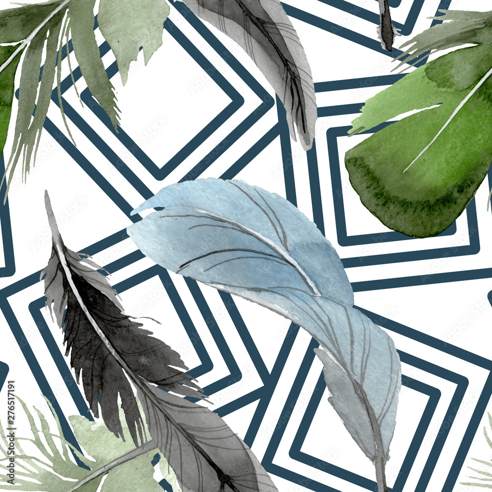 Fototapety, obrazy: Bird feather from wing isolated. Watercolor background illustration set. Seamless background pattern.