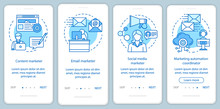 Digital Marketing Specialties Blue Onboarding Mobile App Page Screen Vector Template. Content Marketer Walkthrough Website Steps With Linear Illustrations. UX, UI, GUI Smartphone Interface Concept