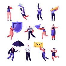 Property, Health Medical Insurance, Pr, Social Media Networking Service Set. Male And Female Characters Holding Shield, Umbrella, Paper Airplane, Photo And Envelope. Cartoon Flat Vector Illustration