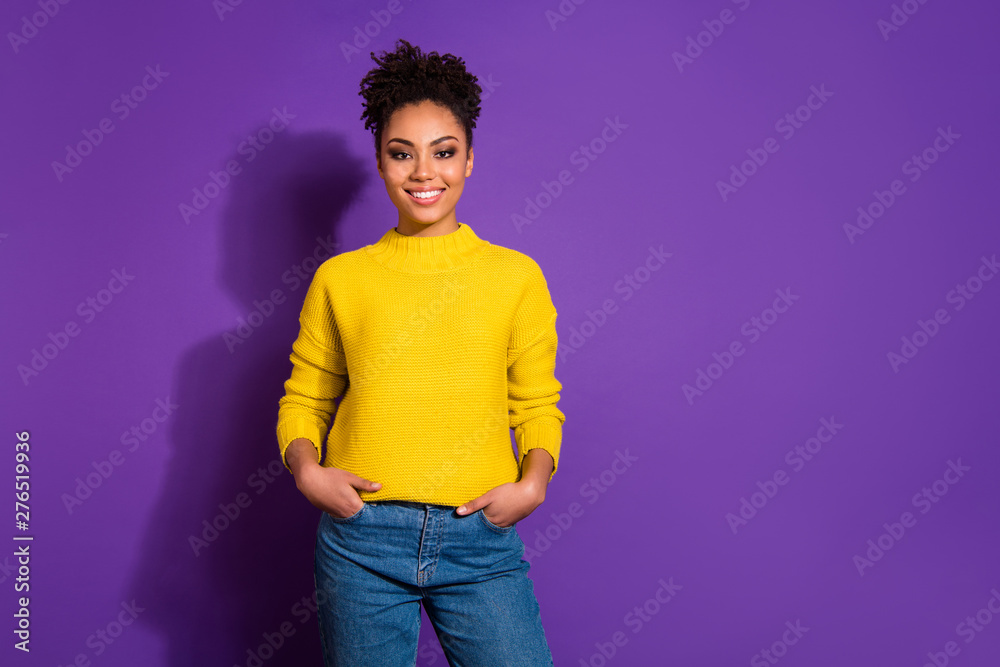 Fototapety, obrazy: Portrait of her she nice lovely attractive winsome cheerful cheery content wavy-haired girl holding hands in pockets isolated over bright vivid shine violet background