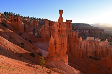 The rock formation known as Thor's Hammer in Bryce Canyon National Park, Utah, at sunrise.