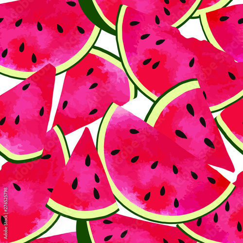 Foto op Canvas Draw Vector seamless pattern with hand drawn slices of red watermelon.