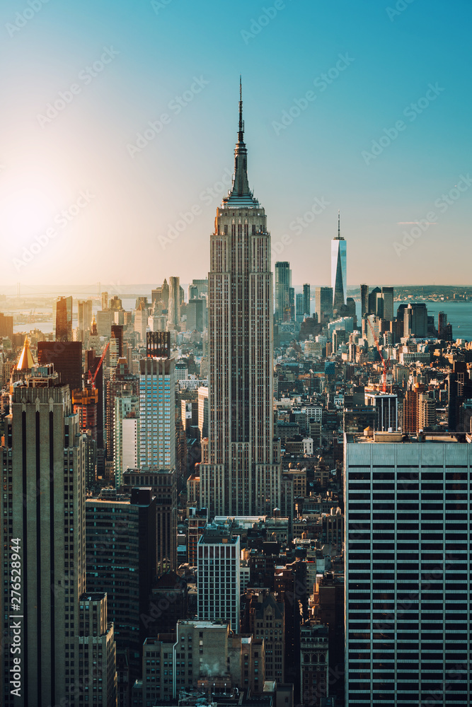 Fototapety, obrazy: view of Manhattan skyline and skyscrapers at sunrise, New York