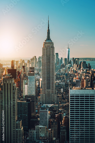 view of Manhattan skyline and skyscrapers at sunrise, New York