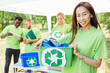 canvas print picture Gruppe Freiwilliger sammelt Müll für Recycling