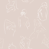 Modern minimalism art, aesthetic contour. Abstract women's silhouette minimalist line art woman body line. Sketch .The seamless patterns are absolutely perfect for packaging, textiles or tissue paper. - 276533104