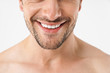 Cropped photo closeup of attractive naked man smiling at camera with white teeth