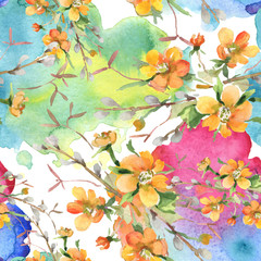 Panel Szklany Podświetlane Do pokoju Bouquet floral botanical flowers. Watercolor background illustration set. Seamless background pattern.