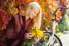 Woman With Bicycle Autumn Gard...