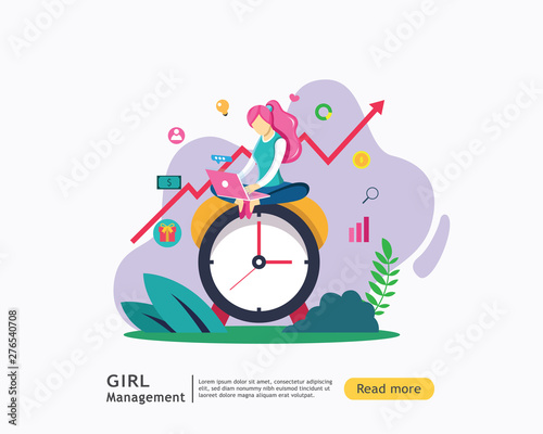 Photo  Digital marketing strategy concept with girl character