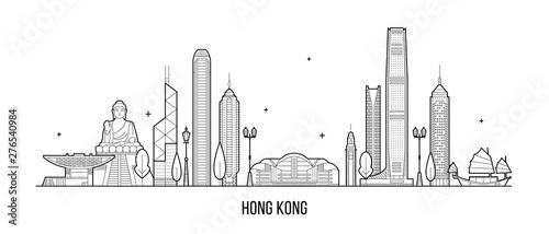 Fototapeta Hong Kong skyline People Republic of China vector