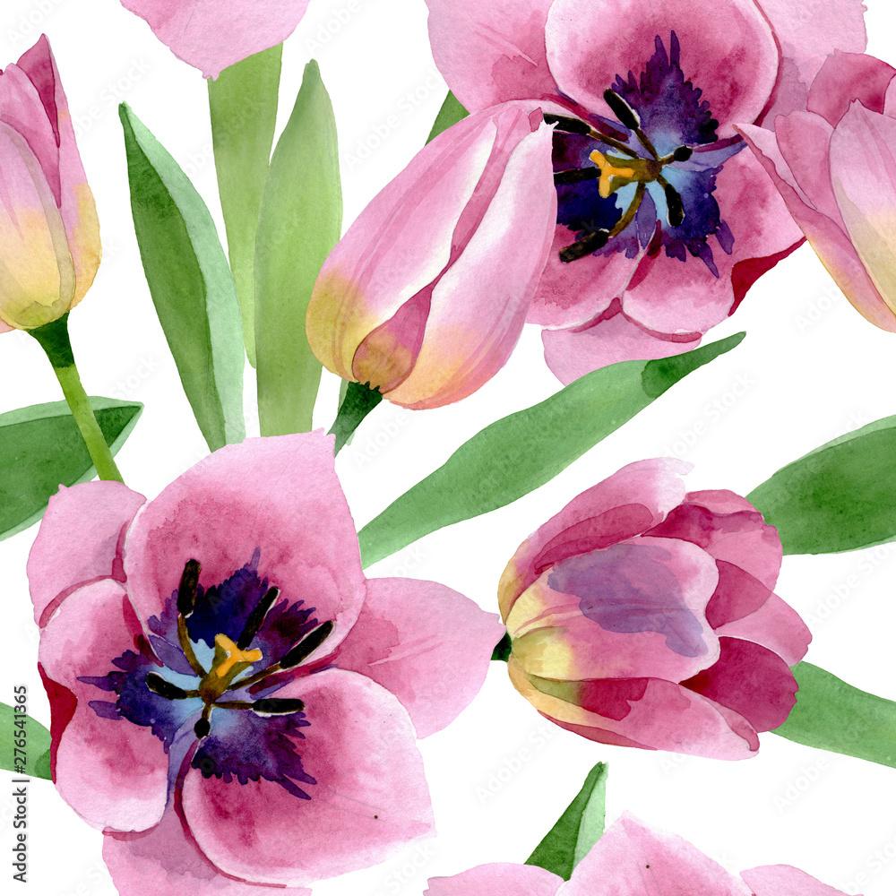Różowe tulipany kwiatowe, akwarela - obrazy, fototapety, plakaty