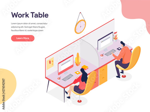 Work Table Illustration Concept Canvas Print