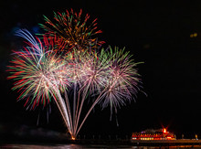 Fireworks In The Sky Over The World Famous Daytona Beach Pier In Florida.