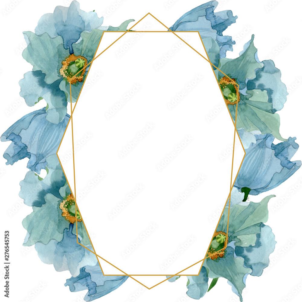 Fototapety, obrazy: Blue poppy floral botanical flowers. Watercolor background illustration set. Frame border ornament square.