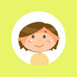 Schoolboy with long brown hair, child or kid avatar vector. Boy child with round head and plump cheeks, cartoon male character, friendly face expression
