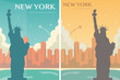 Statue of Liberty banner set. World landmark. American symbol. New York city. Vector