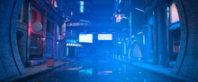 Photorealistic 3d Illustration Of The Futuristic City In The Style Of Cyberpunk. Empty Street With Neon Lights. Beautiful Night Cityscape.