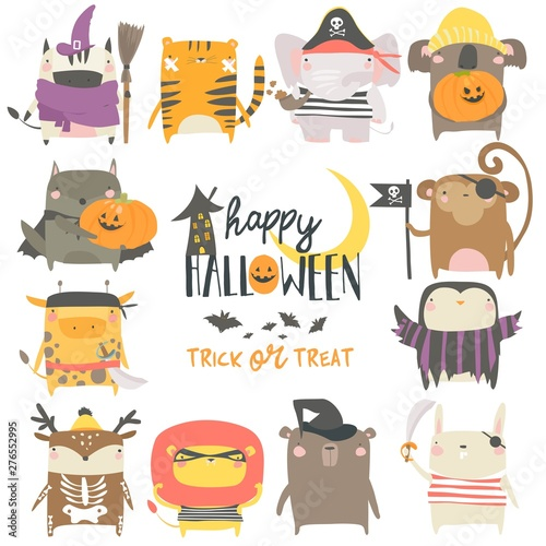 Set of funny animal characters dressed in Halloween costumes
