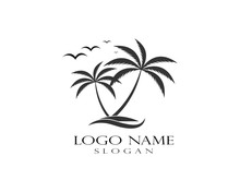 Summer Tree Palm Logo Icon Vec...