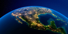 Detailed Earth At Night. Mexico