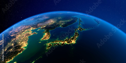 Photo Detailed Earth at night