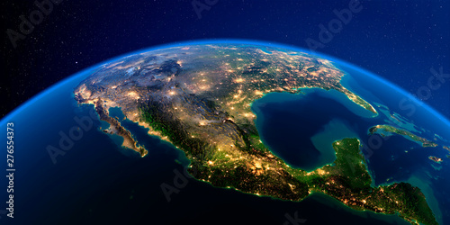 Canvas Print Detailed Earth at night. Mexico