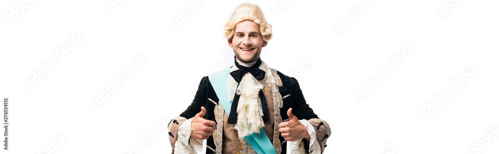 Fototapeta panoramic shot of happy victorian man in wig showing thumbs up isolated on white