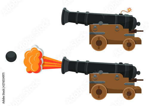Valokuvatapetti Ancient cannon  vector design illustration isolated on white background