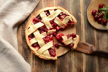 Delicious Homemade Cherry Pie On Wooden Background Summer And Autumn Baked Top View