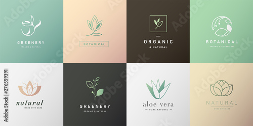 Fotografía Set of natural and organic logo in modern design