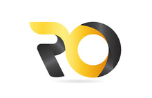 Joined Or Connected RO R O Yellow Black Alphabet Letter Logo Combination